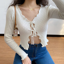 Sexy V Neck Hollow Out Knitted Crop Cardigans Women's Short Lace Up Slim Long Sleeve Autumn Sweater Cardigans 2020 Autumn Tops