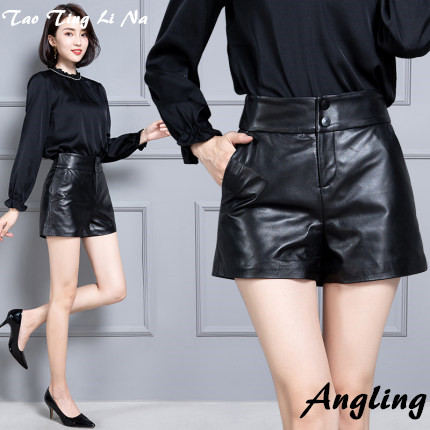 2020 Women New Real Genuine Sheep Leather Shorts KS62