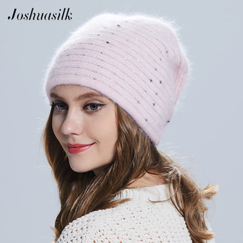 Joshuasilk winter Women hat Butterfly  knitted wool angora Striped hats With Gold decoration cap Double warm - discount item  53% OFF Hats & Caps
