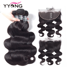 YYong Hair 13x6 Lace Frontal With Bundles Brazilian Body Wave Closure Pre Plucked Ear To Non Remy