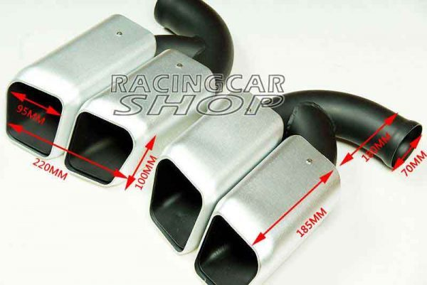 Short Pipe Exhaust Tips Square Muffler Ends Fit For Porsche Cayenne V8 2011-2014 1pair T054W 5