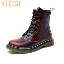 AIYUQI Women Martin Boots Autumn Winter Genuine Leather Large Size Ladies Ankle Boots British Style Fashion Fur Booties Women