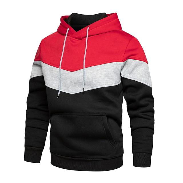 Men's Patchwork Hooded Sweatshirt Hoodies Clothing Casual Loose Fleece Warm Streetwear Male Fashion Autumn Winter Outwear 5
