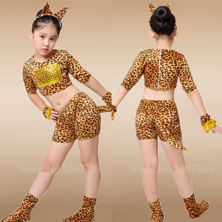 Cartoon Animal Cosplay Girls Tiger Leopard Dress Halloween Costume For Kids 2020 Christmas Outfit Headband Carnival Party Dance