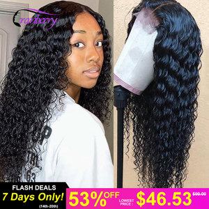 Cranberry Hair 360 Lace Frontal Wig Remy Peruvian Deep Wave Human Hair Wigs For Women Pre Plucked Hairline 4x4 Lace Closure Wig(China)