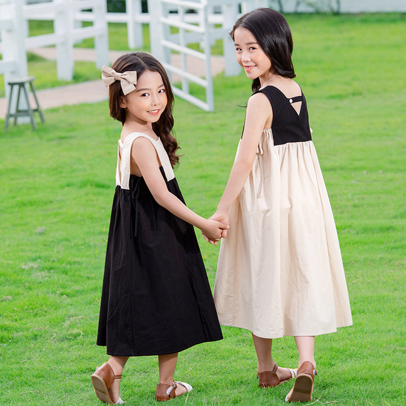 2020 Summer New Girls Dresses Bow Baby Princess Dress  Two Colors Patchwork Sleeveless Kids Cotton Dresses For Children, #8291