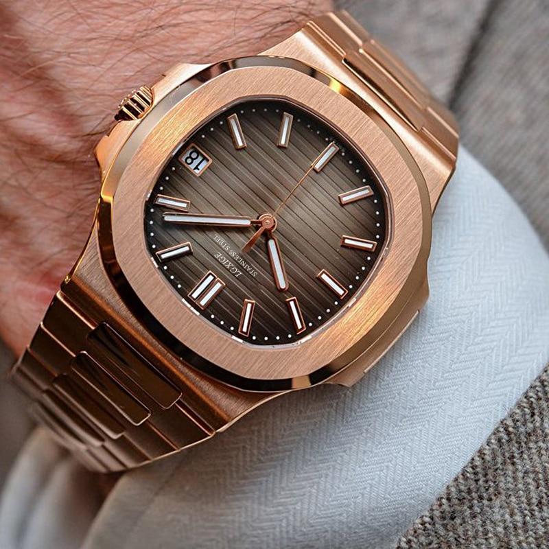 2019 New Top Luxury Men's Watch Rose Gold Stanless Steel 40mm High Quality Quartz Watch Men top brand luxury Sports Men Watches