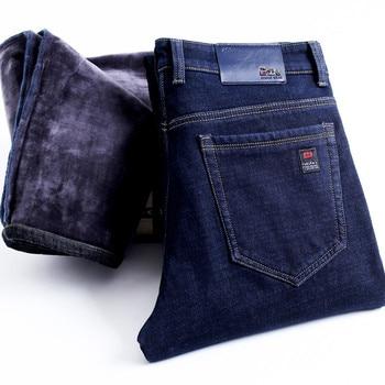2020 Winter New Men's Warm Slim Fit Jeans Business Fashion Thicken Denim Trousers Fleece Stretch Brand Pants Black Blue 4