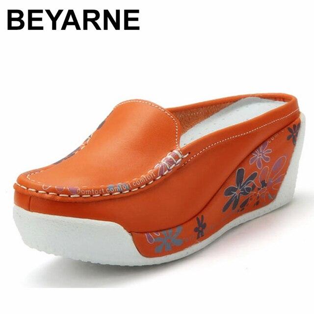 Beyarne本物のレザーシューズレディーカジュアルホワイトウェッジファッション女性の靴通気性の単一のナース厚底プラットフォーム
