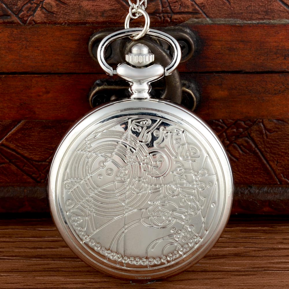 Classic Fashion Silver Doctor Who Pocket Watch Chains Antique Men Women  Pendant Necklace Clock Gift