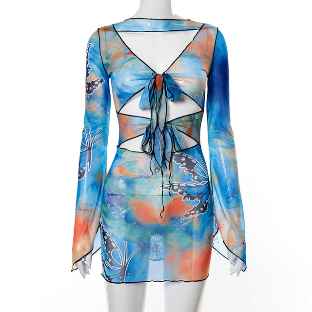 BOOFEENAA Aesthetic Butterfly Tie Dye Printed Sheer Mesh Mini Dress Y2k Sexy Cut Out Long Sleeve Bodycon Dress Clubwear C85-BF12 6