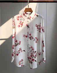 CAMIA 100% Шелковая женская блузка с цветочным принтом Бегония, блузка с длинным рукавом, рубашка с v-образным вырезом, топ из ткани, модные женск...