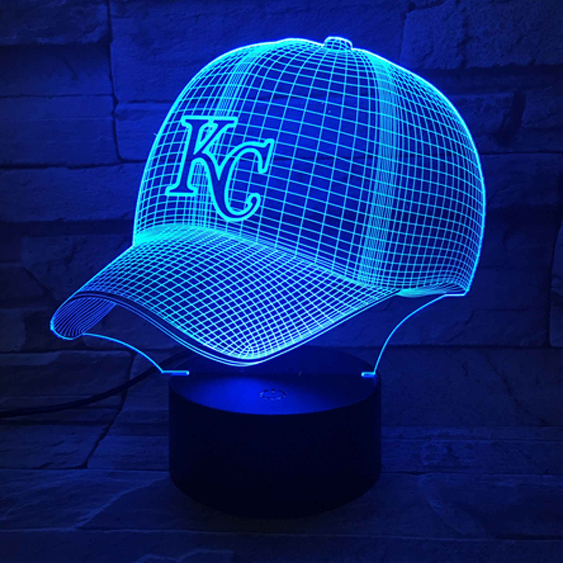 Kansas City Chiefs Baseball Cap Colorful Remote Control Touch Control 3D Visual Lamp