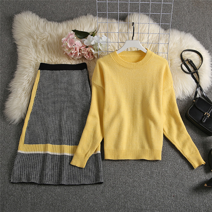 ALPHALMODA 2019 Autumn New Arrived Women Knitting Sweater Skirt Suits Bright Color Youthful Winter Knitting Outfit 2pcs Set 125