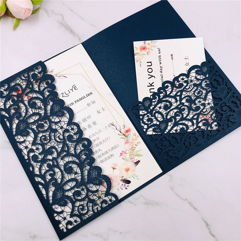 Us 31 98 22 Off Free Ship 50x Champagne Gold White Black Navy Blue Ivory Glitter Tri Fold Hollow Laser Cut Pocket Wedding Invite Invitation Card In