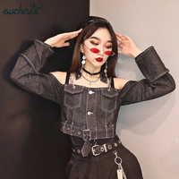 SUCHCUTE Metal Chain Female T Shirt Denim Tops Off Shoulder Gothic Korean Style Autumn 2019 Longslive Harajuku Casual Clothes