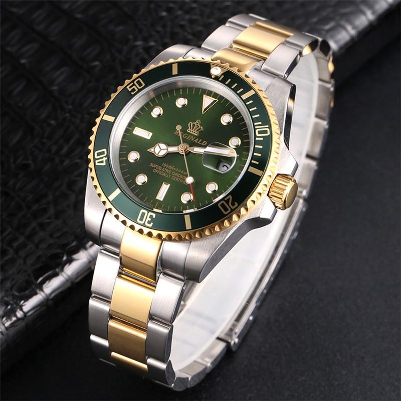 Man Watch 2019 Top Brand Reginald Men Sports Watches Rotatable Bezel Gmt Sapphire Glass Date Full Stainless Steel Business Gifts