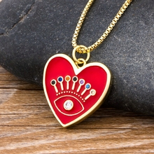 New Fashion Lucky Turkish Evil Eye Heart Necklace Gold Color Long Chain Copper CZ Pendant Charm Gift Jewelry  for Women Girls rose gold color love heart knot pendant necklace for women small heart charm pendant choker necklace girls jewelry 2020 new