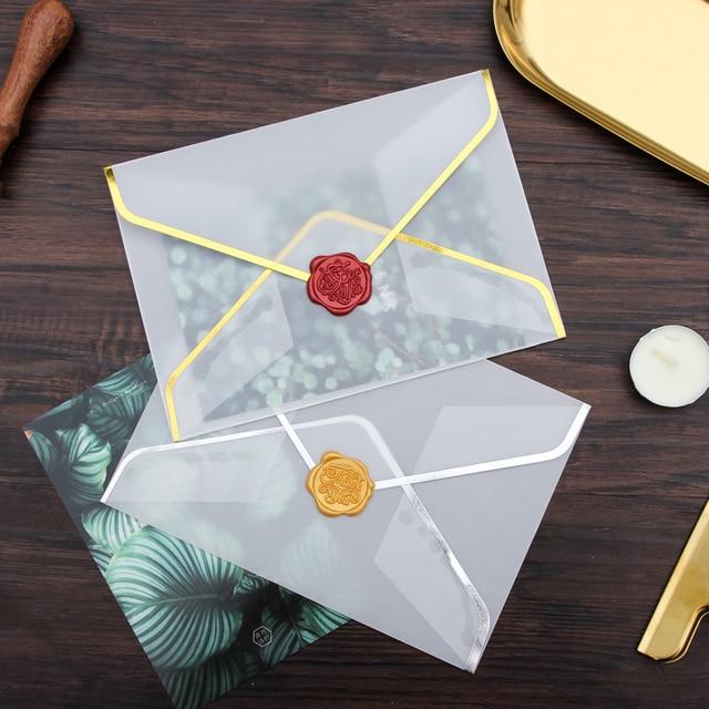 20 יח\סט חם ביול הדפסת נייר B6 מעטפת שקוף חומצה גופרתית נייר מעטפת עבור מסיבת חתונת Invatation