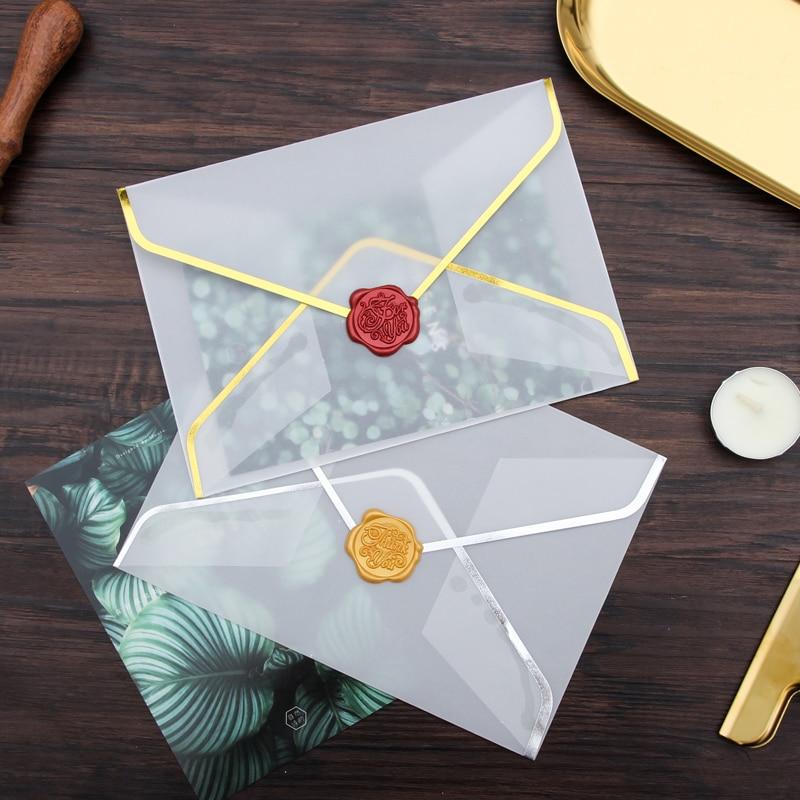20pcs/set Hot Stamping Printing Paper B6 Envelope Transparent Sulfuric Acid Paper Envelope For Wedding Party Invatation