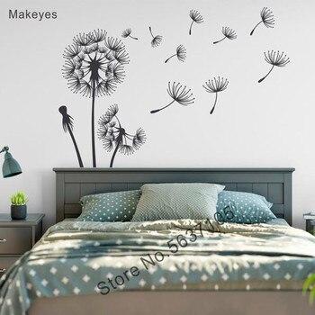 Makeyes dandelion adesivo de parede para casa sala decalque da parede floral arte da parede do vinil dandelion design moderno casa decoração q040