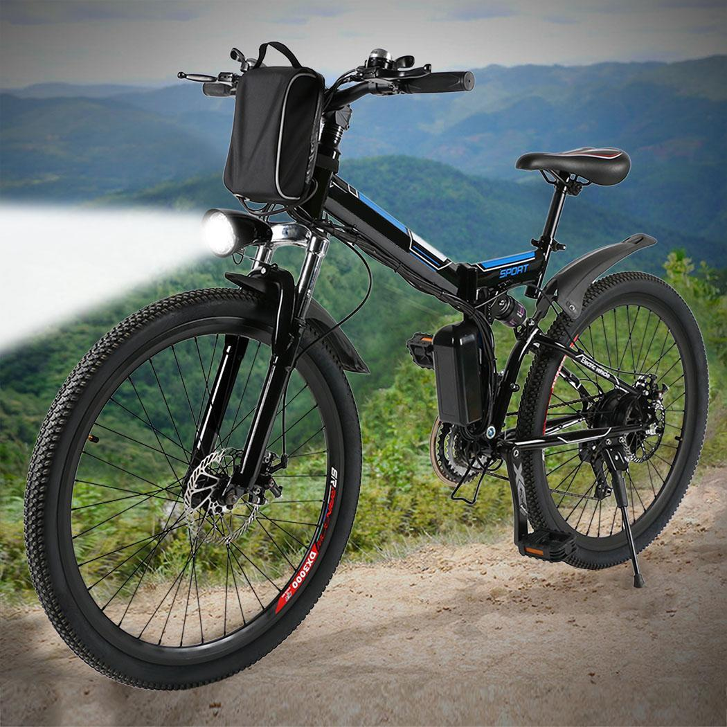 Electric Bike Bicycle Mountain Bike Full Suspension Alluminium Folding Frame 27 Speed Mechanic Brake 26 Wheel image