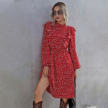 Fashion New Ruffles Heart Dot Print Dress Women Elegant Full Sleeve High Waist Ladies 2021 Spring Summer Long Dress Red