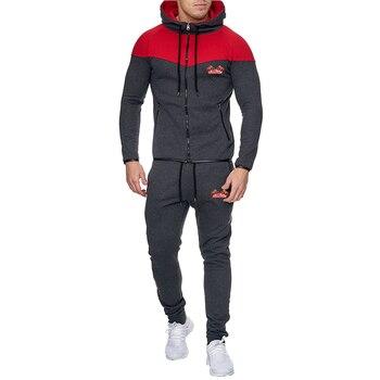 Men's Hoodies Sweatshirt Sets 2020 Men Fashion Casual Hooded Tracksuit Suit Male Hoodie Pants Joggers Set Autumn Gym Sportsuit