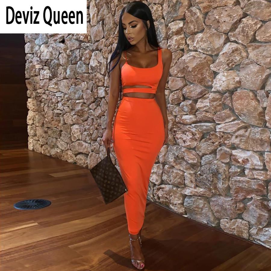 Autumn Club Party Night Skirts 2two Pieces Sets Women Neon Bodycon Midi Skirts Hollow Camis Summer Office Lady Suit Mujer