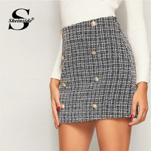 Sheinside Elegant Double Breasted Tweed Skirt Women 2019 Autumn High Waist A Line Skirts Office Ladies Patchwork Mini Skirt(China)