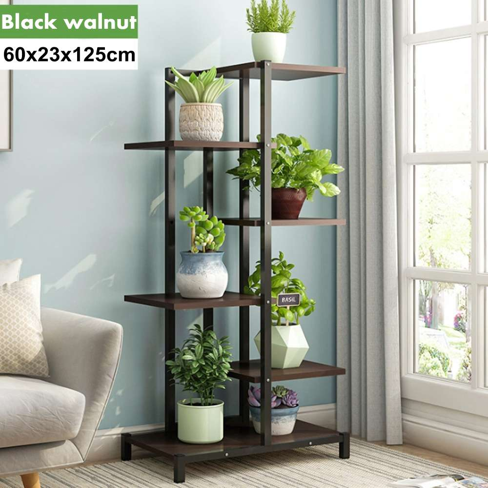 6 Layer Plant Stand Wooden Flower Rack Multi Flower Stand Shelves Display Steel Tube  Flower Stands Yard Garden Patio Balcony