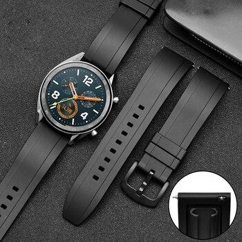Rubber Strap Watchband 20mm 22mm 24mm Sport Waterproof Rubber Bracelet Belt Band for Amazfit Huawei GT 2 Honor Watch Magic