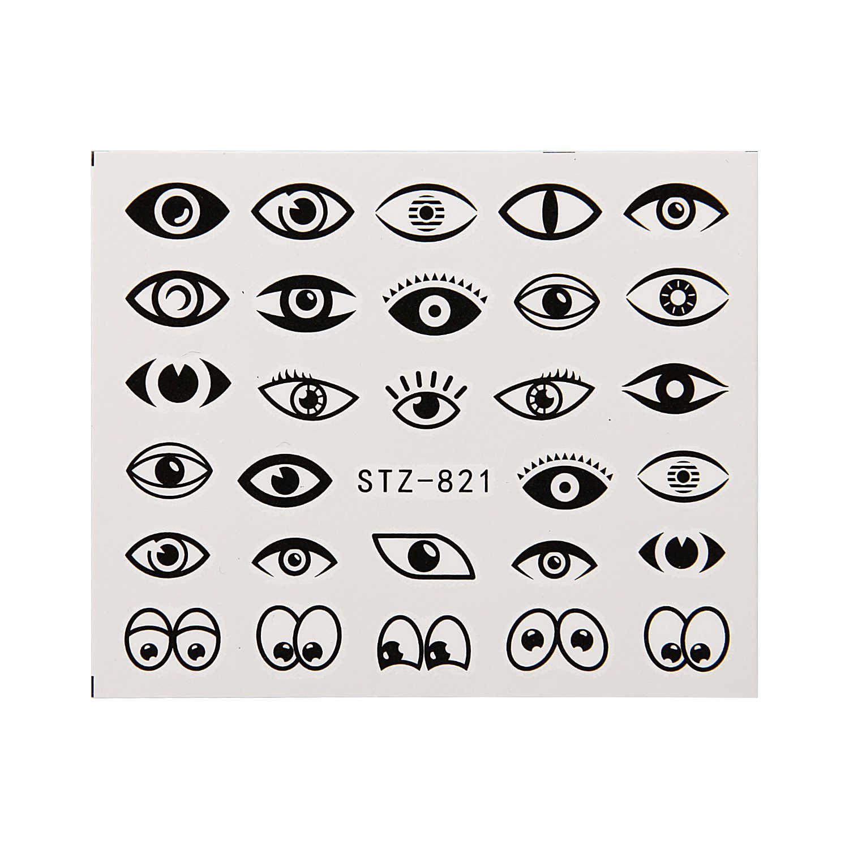 Serie occhi Unghie Artistiche Stickers Acqua di Trasferimento Decalcomanie Cursore Avvolge Affascinante Stagnola Del Chiodo Decorazioni Disegni Manicure Accessori