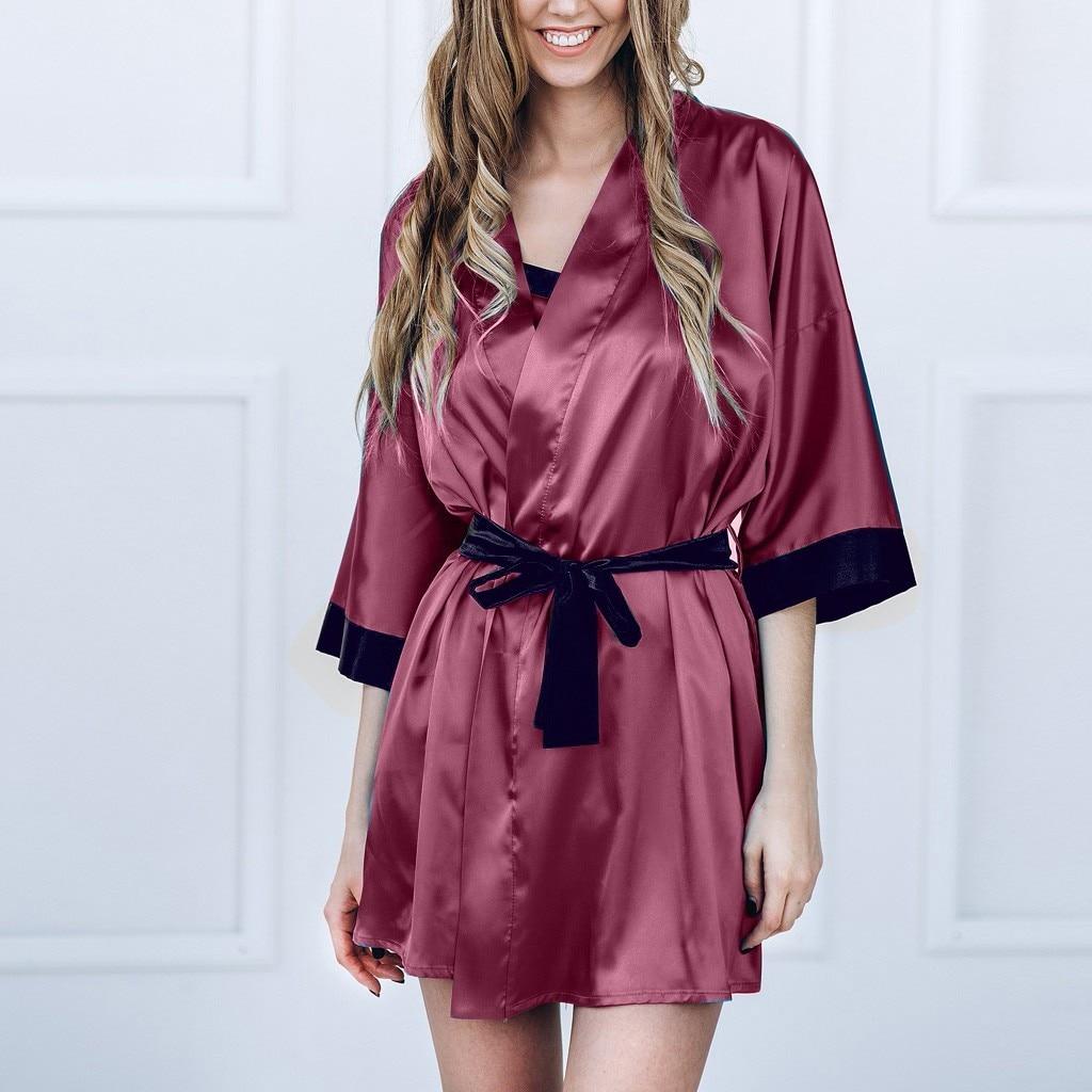 Women Satin Kimono Robe Lace Bathrobe Lingerie Pajamas Night Gowns Plus Size S To XXXL Under 28 Dollars U.S.Stock Free Shipping From USA