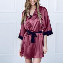 Women Sexy Black Faux Silk Satin Kimono Robe Lace Bathrobe Lingerie Pajamas Dres