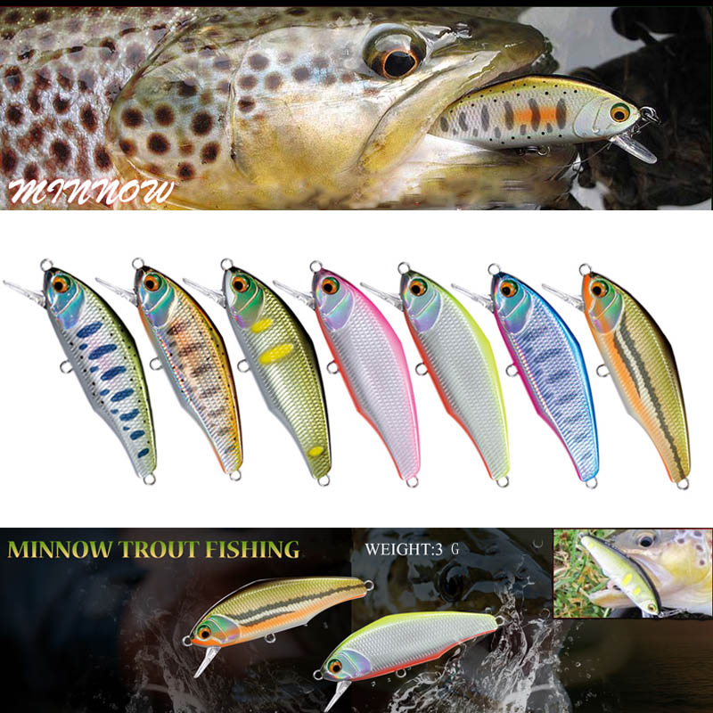 1pcs Japanese Design Pesca Wobbling Fishing Lure 44mm 3g Sinking Minnow Isca Artificial Baits For Bass Perch Pike Trout