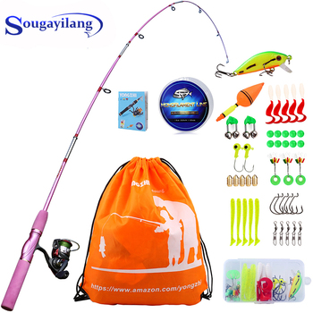 Sougayilang Portable Pink Fishing Rod Combo 1.55m Rod and Spinning Reel Lure Line Hook Full Set for Women Children Fishing Gifts new lure rod set spinning rod fishing reel combos full kit 1 8m 3 0m fishing rod pole reel line lures hooks portable bag