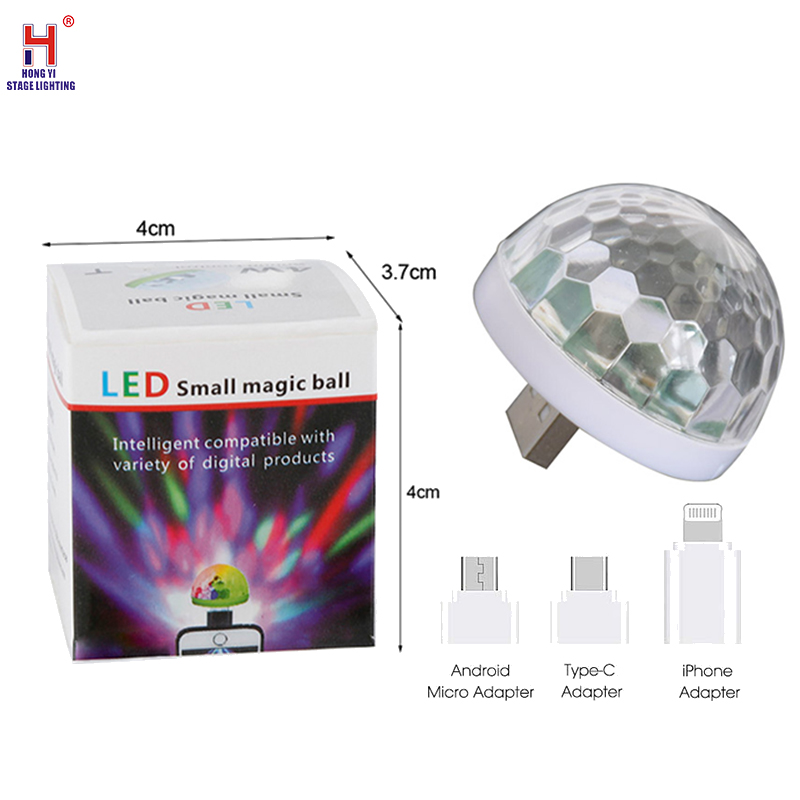 USB Stage Light Mini LED Disco Stage Light Portable Family Party Magic Ball Colorful Light Bar Club Stage Effect Lamp