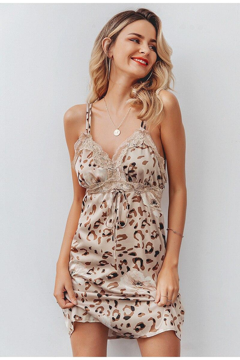 Elegant V-Neck Leopard Sleeveless Backless Mini Dress 4