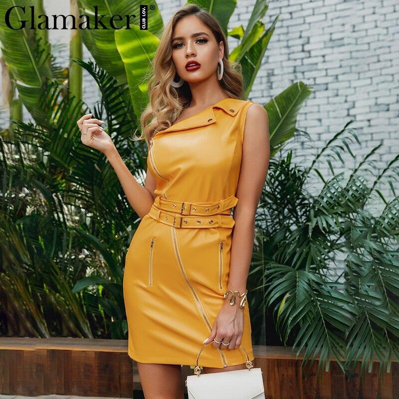 Glamaker Irregular Collar Yellow Sexy Dress Women Autumn Belt Bodycon Pu Leather Dress Party Slim Zipper Short Club Dress Winter