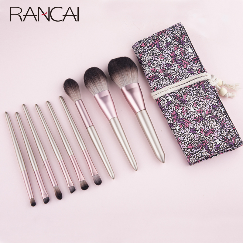 RANCAI 9pcs Hight Quality <font><b>Makeup</b></font> <font><b>Brushes</b></font> maquiagem New <font><b>Mermaid</b></font> Foundation Eyebrow Eyeliner Cosmetic <font><b>makeup</b></font> <font><b>Brushes</b></font> <font><b>With</b></font> <font><b>Bag</b></font> image