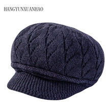 2018 Elegant Ladies Berets Women Rabbit Fur Knitted Newsboy Hats Visor Solid Autumn Winter Fashion Warm Gorras Planas Female Cap