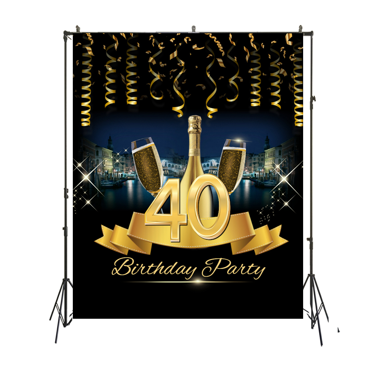 <font><b>40th</b></font> <font><b>Birthday</b></font> Party Photography <font><b>Backdrop</b></font> Champagne Black Gold Shing Celebration Photo Background for Pictures SM-073 image