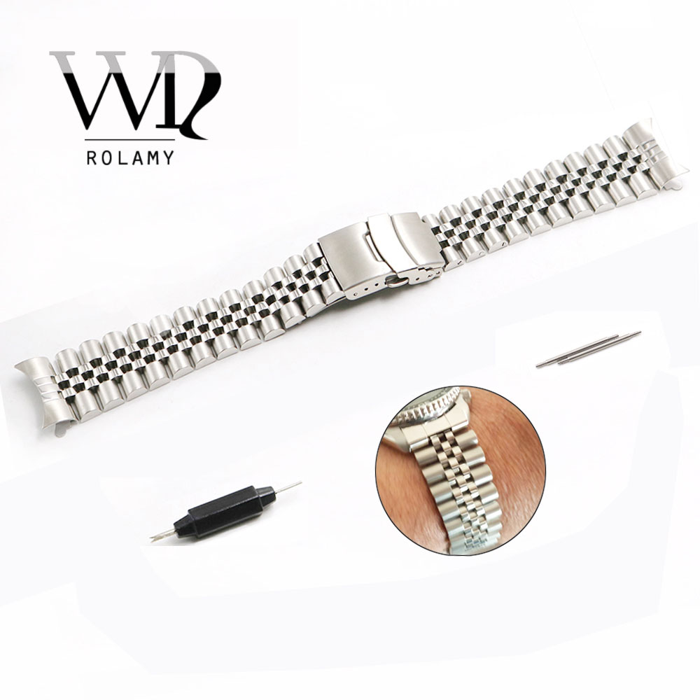 Rolamy 22mm Watch Band Jubilee Bracelet Hollow Curved End Solid Screw Links Stainless Steel Silver For Seiko SKX 007