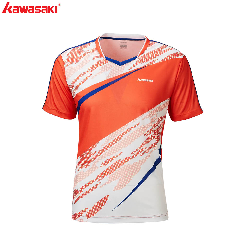 Kawasaki 2020 Badminton Sportswear Breathable Men Shirt V-Neck Badminton Shorts T-shirts For Men ST-R1208
