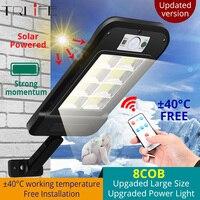 Poderosa luz Solar lámpara de calle 8COB inducción LED accionado Solar a prueba de agua de movimiento PIR gran luz para jardín Patio de gran tamaño