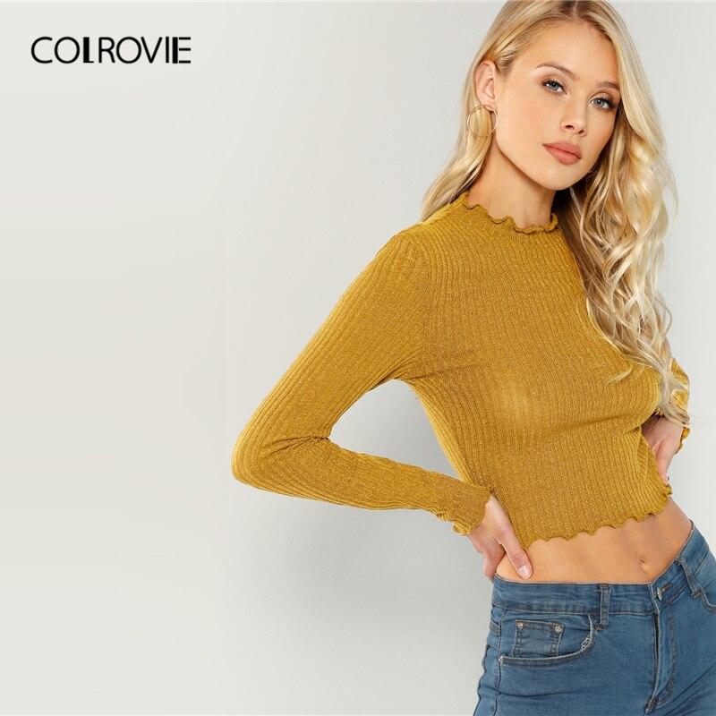COLROVIE solidna sałata wykończenia jednolita seksowna dzianinowy crop top dla kobiet zwykła koszula 2019 wiosna koreański, z długimi rękawami eleganckie damskie koszule 4