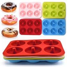 Moule à donuts 3D antiadhésifs à 6 cavités, outil de cuisine en silicone pour faire soi-même des biscuits au chocolat, bonbons, donuts