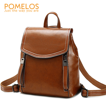 POMELOS Women Leather Backpack Bag Fashion Backpack Women Luxury Female Backpack For Teenagers Girls Ladies Function Back Pack