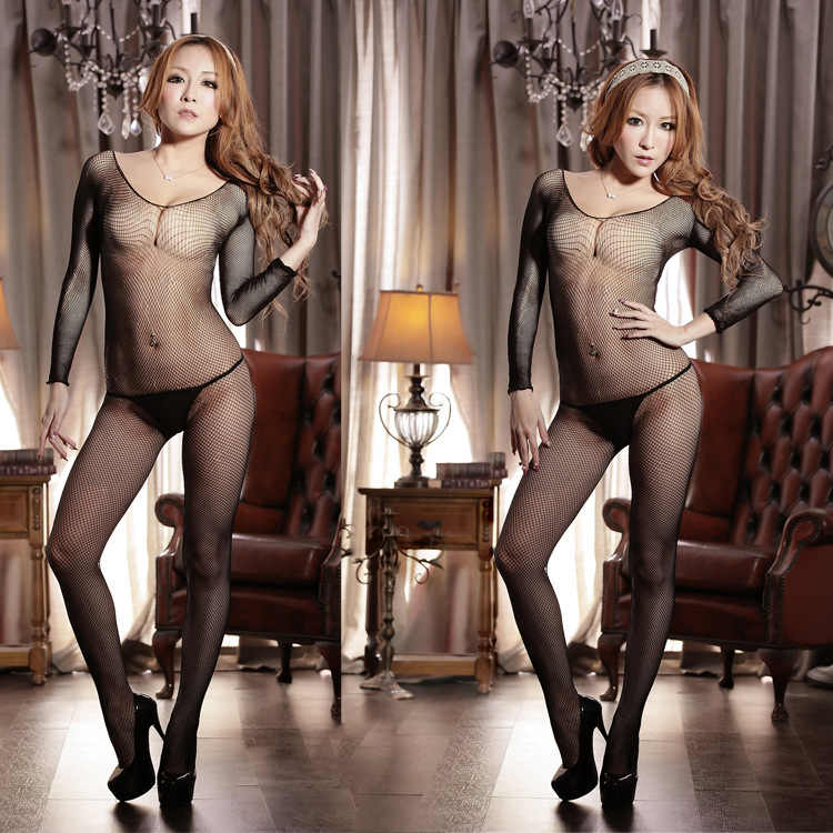 Sheer Zwarte Visnet Jacquard Volledige Bodystocking Volwassen Sexy Ondergoed Siamese Mesh Kous Vrouwelijke Sex Flirten Pak Bodystocking